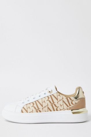 River Island Beige Printed Lace-Up Shoes