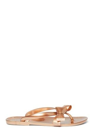 Ted Baker Rose Gold Bow Flip Flops