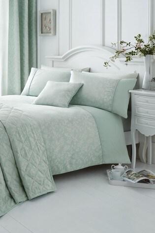 Serene Blue Ebony Floral Jacquard Duvet Cover and Pillowcase Set