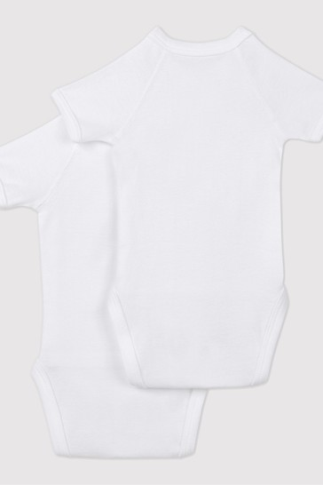 Petit Bateau White Iconic Rib Short Sleeve Bodysuits Two Pack
