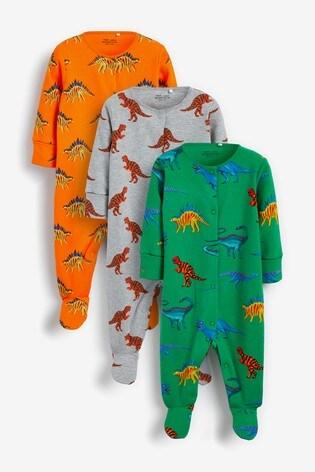 Bright Dinosaur 3 Pack Printed Sleepsuits (0mths-2yrs)