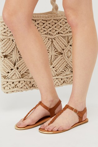 Accessorize Tan Plaited Toe Thong Sandals