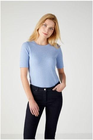 Pure Collection Blue Cashmere T-Shirt