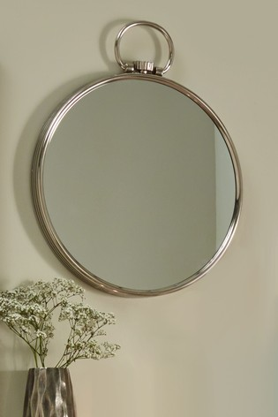 Shiny Nickel Round Wall Mirror by Pacific