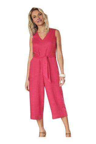 Pure Collection Pink Linen V-Neck Jumpsuit