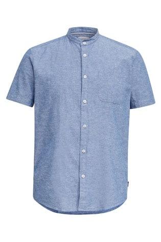 Esprit Blue Short Sleeve Stand Up Collar Shirt