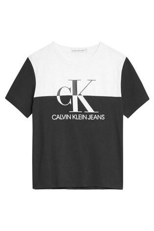 Calvin Klein Black Monogram Colourblock T-Shirt