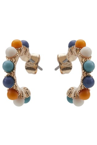 Oliver Bonas Gold Tone Cosette Beaded Hoop Earrings