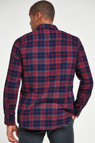 Red Slim Fit Check Brushed Long Sleeve Shirt