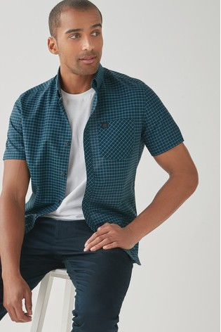 Teal/Navy Regular Fit Slim Fit Short Sleeve Gingham Stretch Oxford Shirt