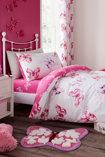 Butterfly Easy Care Duvet Cover and Pillowcase Set by Catherine Lansfield