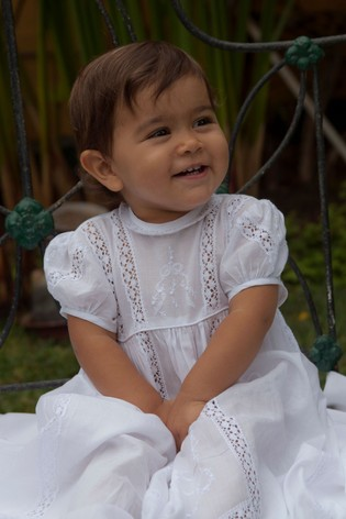 Kissy Kissy White Victoria Christening Gown And Hat Set