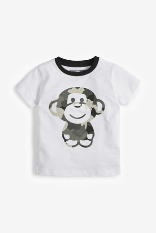 Monochrome 4 Pack Camo Monkey T-Shirts (3mths-7yrs)