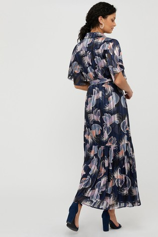 Monsoon Blue Birdie Printed Shirt Dress