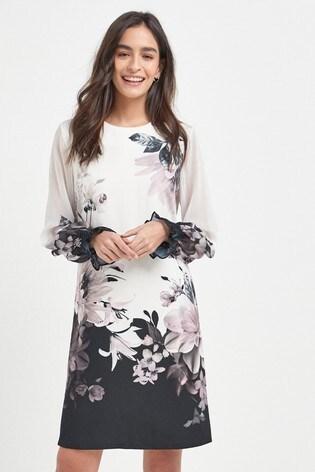 Black/Ecru Border Print Dress
