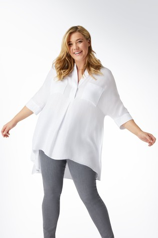 Live Unlimited White Chambray Tunic With Patch Pockets
