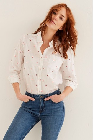 FatFace Natural Olivia Embroidered Shirt