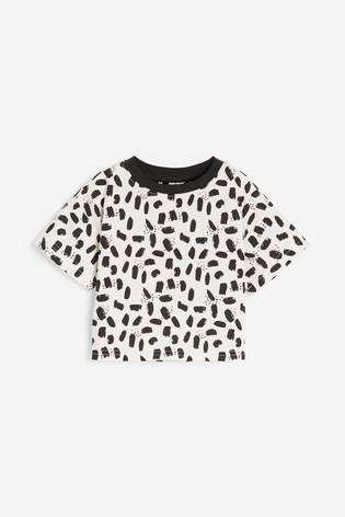 Monochrome/ Green 2 Pack Leaf Cotton Pyjamas With Paperbag Shorts And Boxy Top (9mths-16yrs)