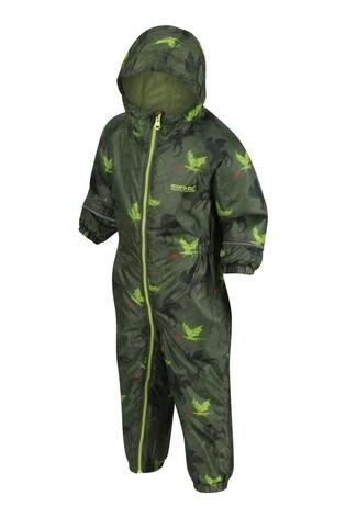 Regatta Green Little Adventurers Pobble Waterproof Suit