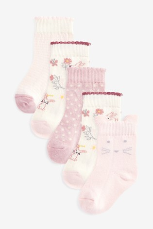 Pink/Cream 5 Pack Bunny/Floral Socks (Younger)