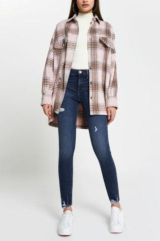 River Island Denim Medium Molly Mid Rise Ripped Jeans