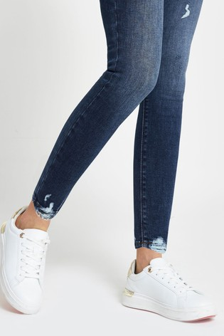River Island Denim Medium Molly Mid Rise Ripped Jeans
