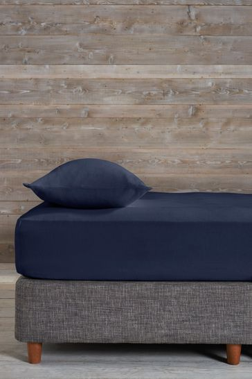Navy 100% Cotton Supersoft Brushed Deep Fitted Sheet