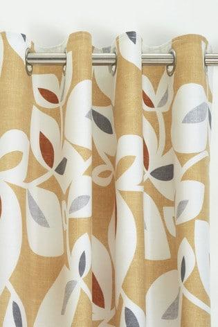 Catherine Lansfield Inga Leaf Eyelet Curtains