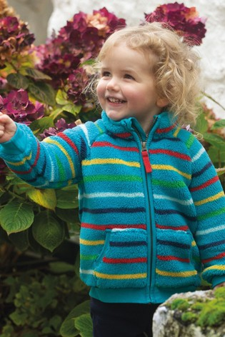 Frugi Recycled Cosy Teal Rainbow Stripe Fleece