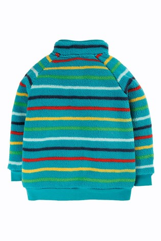 Frugi Recycled Polyester Cosy Teal Rainbow Stripe Fleece