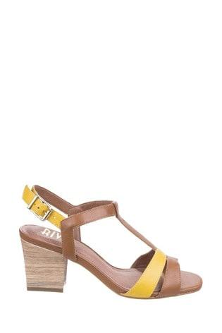 Riva Brown Hot Heels Palmira T-Bar Sandals