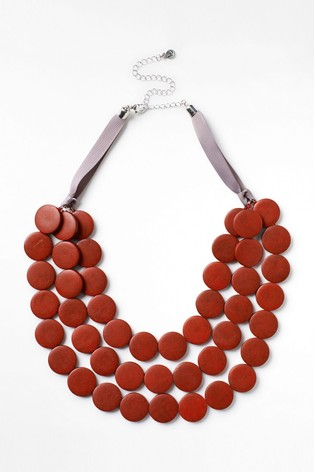 White Stuff Red Carrie Wood Circle Necklace