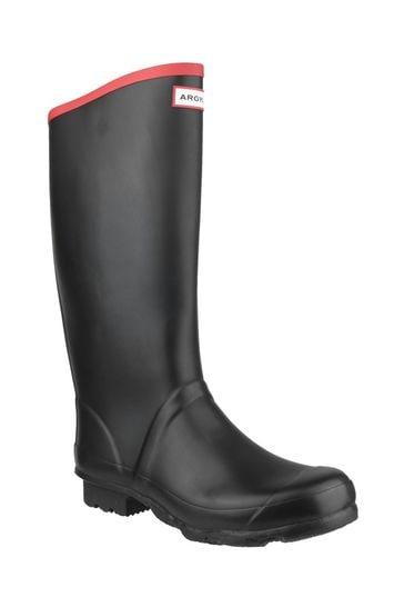 Hunter Black Argyll Neoprene Wellington Boots