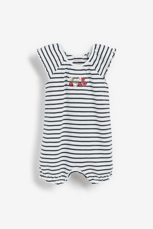 Navy Stripe 3 Pack Gathered Neck Printed Rompers (0mths-3yrs)
