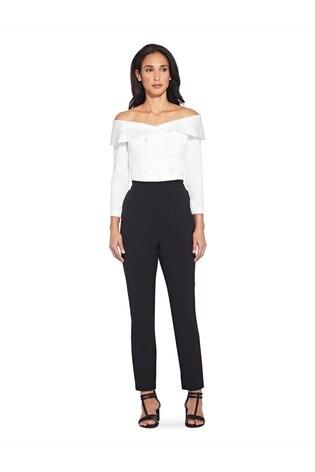 Adrianna Papell Black Crepe Slim Trousers