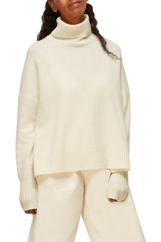 Whistles Ivory Roll Neck Flecked Wool Knit Jumper