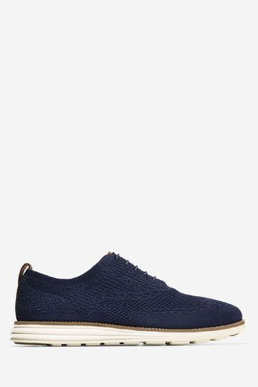 Cole Haan Blue Grand Stitchlite Wing Oxford Lace-Up Shoes