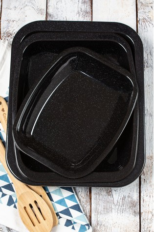 Set of 3 Cook Enamel Roasting And Baking Trays by Wham
