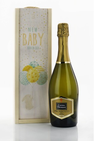 New Baby Prosecco And Wooden Gift Set by Le Bon Vin