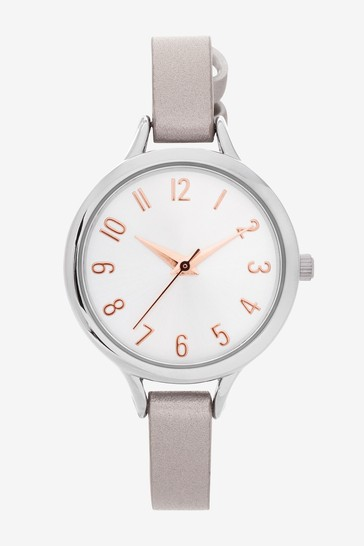 Metallic Simple Strap Watch