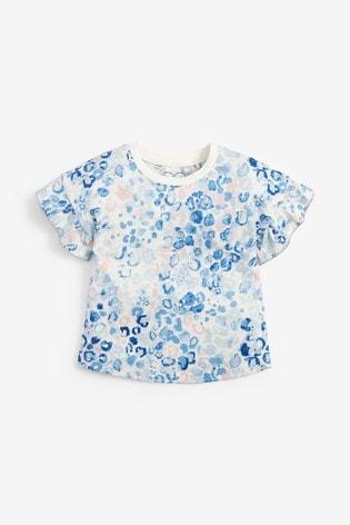 Blue Animal Frill Sleeve T-Shirt (3mths-7yrs)