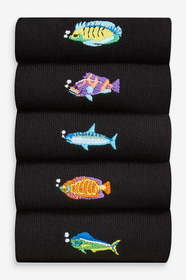 Black Tropical Fish 5 Pack Embroidered Socks