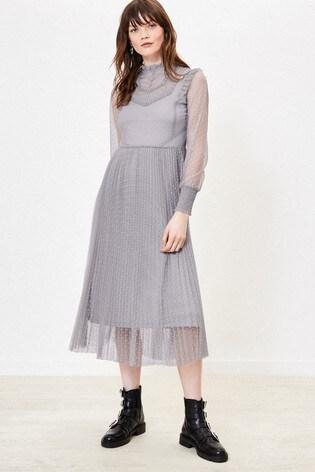 Oasis Grey Mesh Tulle Dress