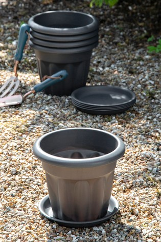 Set of 5 Vista 25cm Round Tray And Garden Planters by Wham