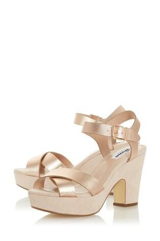 Dune London Jiyla Rose Gold Leather Platform Sandals