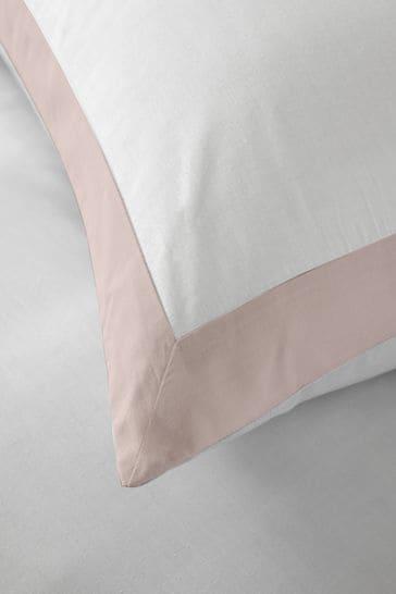 Serene White Madison Easy Care Contrast Border Duvet Cover And Pillowcase Set