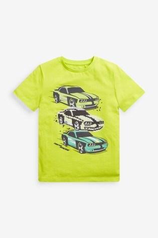 Lime Car Flippy Sequin T-Shirt (3-16yrs)