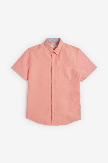 Orange Regular Fit Short Sleeve Oxford Shirt
