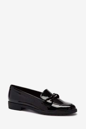 Black Cleated Hardware Loafers