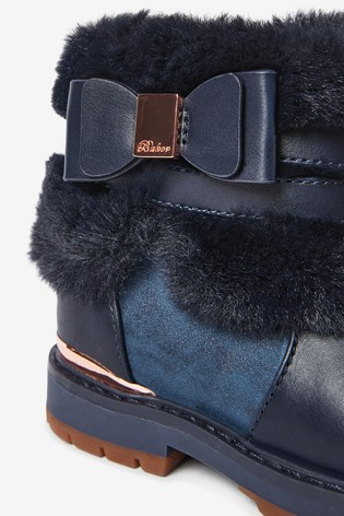 Baker by Ted Baker Navy Faux Fur Bow Ankle Boots